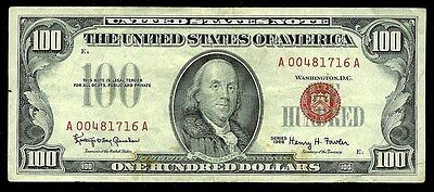 1966 $100.00 United States Bank Red Seal Note Fr 1550 Xf Condition