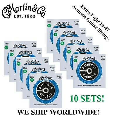 **10 Sets - Martin M170 Acoustic Guitar Strings Extra Light 80/20 Bronze **