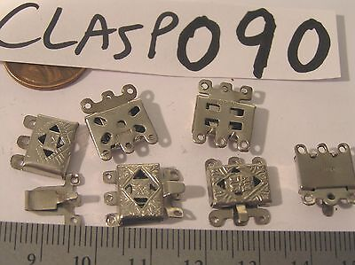 6 Vtg Chromed Japanese Filigree Necklace Clasp 3 Strand Jewelry Findings Craft