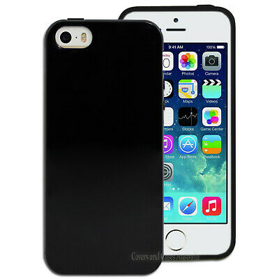 Black Gloss Flexible Case for Apple iPhone 5 5S SE Soft TPU Silicone Cover