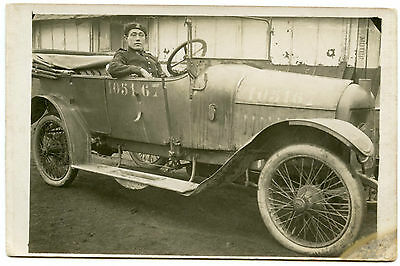 Carte Photo.ancienne Automobile Avec Chauffeur Militaire.old Car.military.