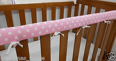 Cot Rail Cover Baby Pink White Spots Crib Teething Pad  x 1