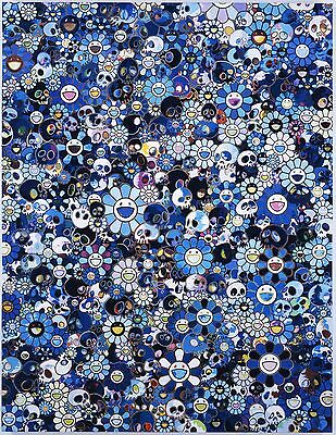 Takashi Murakami Blue Skulls Home Decor Canvas Print, choose your size.
