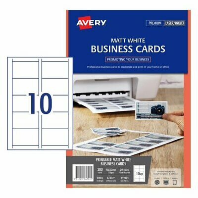 MATT WHITE Avery Micro-Perforated Laser / Inkjet Business Cards 150gsm 959025^