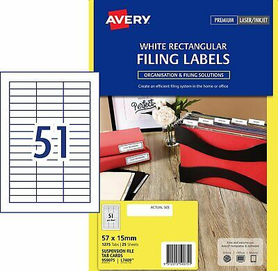WHITE Avery Suspension File Tab Cards L7409 51/Sheet 25 Sheets 959075