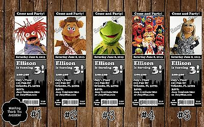 The Muppets - Birthday Party Ticket Invitation - 30 Printed W/envelopes