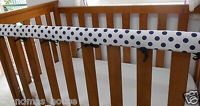 1 x Baby Cot Rail Cover Crib Teething Pad Navy Spots on White  *REDUCED*