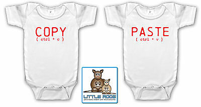 Baby Bodysuit Top Funny Baby Shower Present - Twins Copy Paste Set Size 000,00,0