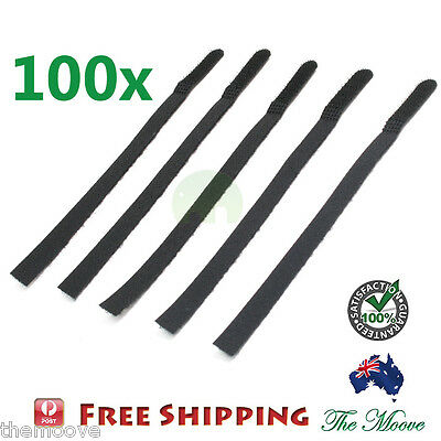 100x Reusable Nylon Cable Tie Hook Loop Strap Cord Ties PC Tidy Organiser Black