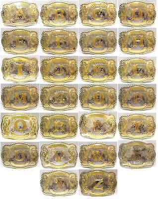 Initial Letters Western Style Cowboy Rodeo Gold Large Buckle  Belt Buckles