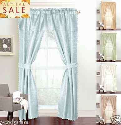 Window Panel Curtain - 6 Piece Set Includes 3 Panels, 1 Valance & 2 Tie Backs