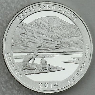 2014-S Silver Great Sand Dunes National Park Deep Cameo Proof Coin in Capsule