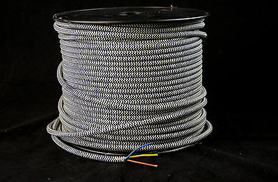 1m Black/WHITE ZigZag vintage Textile fabricElectrical Cord OldCloth Light Cable