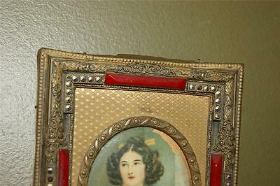 Rare Antique 1800's Red Jeweled Glass Filigree Picture Frame  Miniature Painting