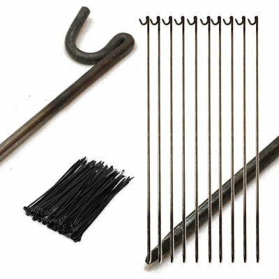 10 x STRONG METAL FENCING ROAD PINS STAKES POSTS & 100 CABLE TIES, TEMP FENCING