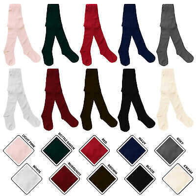Girls School Uniform Footed Nifty Cotton Tights in 10 Colours Ages Newborn 1-13