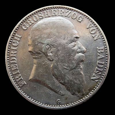 1907 -G Silver Baden German State 5 Mark - Vf/xf Condition Mint Karlsruhe