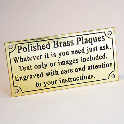 "Solid Brass Plaque 4""x2"" Engraved Polished Memorial Bench Pet Sign Brass Screws"