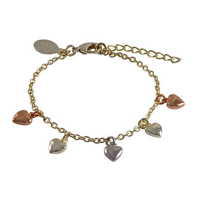 "Gold Plated Tri Color Flat Hearts Toddler Girls Kids Charm Bracelet 5"" + 1"" Long"