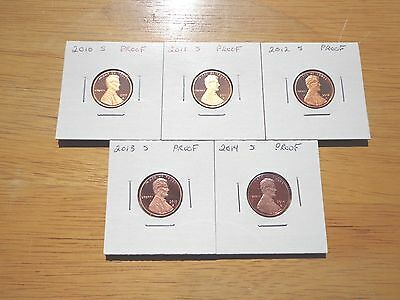 2010 S 2011 S 2012 S 2013 S 2014 S Lincoln Proof Cent Penny  5 Coin Set Lot