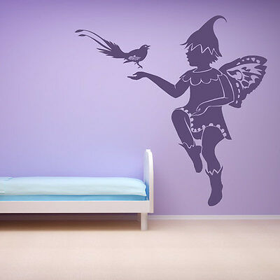 Fairy With Bird Wall Sticker Fairy Wall Decal Art