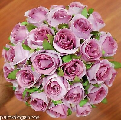 Wedding Bouquet Silk Dusty Pink Lavender Roses Rose Posy Flower Flowers 26 heads