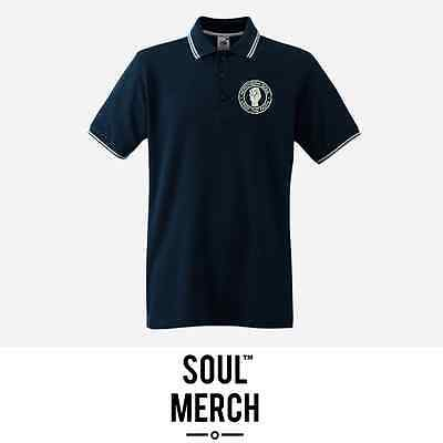 Northern Soul Keep The Faith Embroidered Badge Tipped Polo Shirt T-Shirt Navy