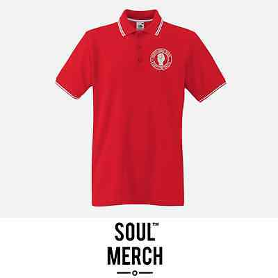 Northern Soul Keep The Faith Embroidered Badge Tipped Polo Shirt T-Shirt Red