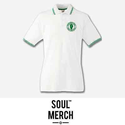 Northern Soul Keep The Faith Embroidered Badge Tipped Polo Shirt T-Shirt White