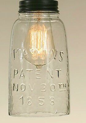 Rustic HG CLEAR Mason Jar Open Bottom Industrial Pendant Replacement GLobe & Lid