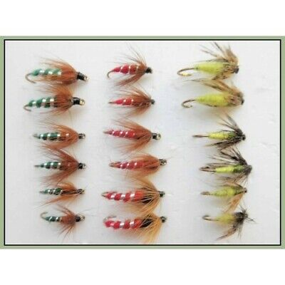 Nymph Trout Flies, 18 Pack Red & Green Sedge Pupa & Caddis Nymph, Mixed Size