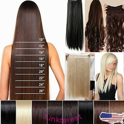 17/24'' 3/4 Full head clip in synthetic hair extensions 5clips straight curly lt