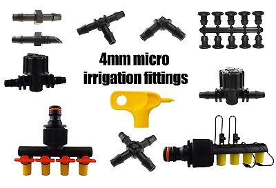 4mm MICRO IRRIGATION CONNECTORS HOZELOCK COMPATIBLE TEE JOINER ELBOW HYDROPONICS