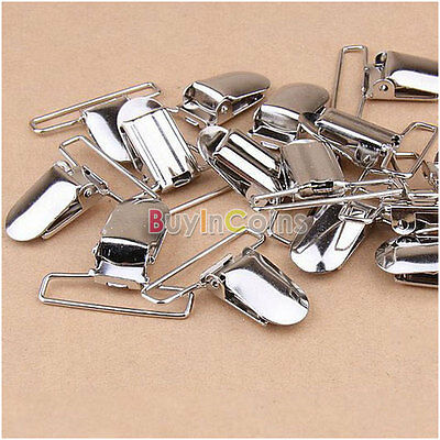 10X Pacifier Metal Suspender Clips Ribbon Craft Hook Holder Insert HFAU