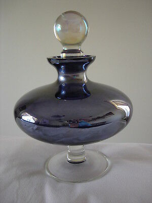 Purple Clear Glass Pedestal Decanter Vintage Collectible