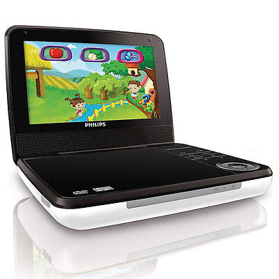 "Philips PD703 White 7"" LCD Portable DVD Player Video Game System w/ Control New"