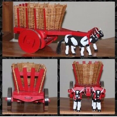 """Miniature Bull And Pulled Cart. HANDMADE by My Dad.  10""""H X 18""""L X 8""""W"""