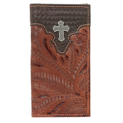 NEW AMERICAN WEST MENS BI-FOLD WESTERN TOOLED LEATHER RODEO CONCHO CROSS WALLET