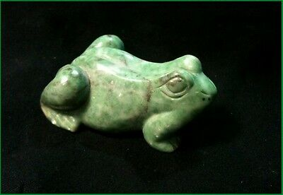 Small Beautiful  Lovely Green Agate  Stone Frog + Aventurine Qtz  Crystal Heart