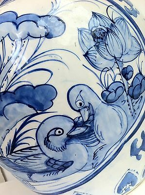large vintage chinese vase blue and white lotus flowers and duck design