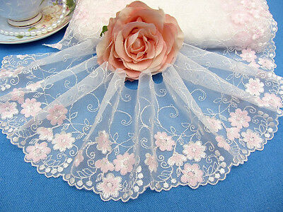 """4.5""""*1Y Embroidered Floral Tulle Lace Trim~White+Baby Pink~Daisy Faeries~Lovely~"""
