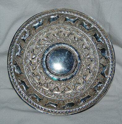 THAI SILVER TRAY  - Solid Silver / EMBOSSED ANIMALS / Original Case / old (3G14)