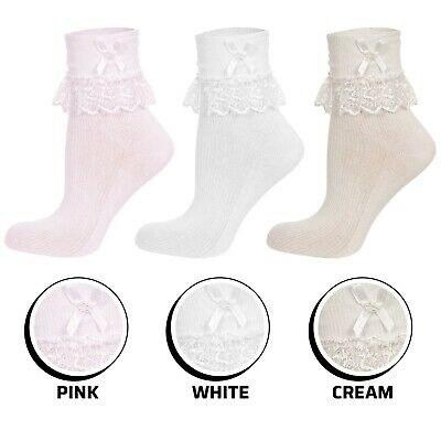 Girls Cream Pink & White Jester Frilly Lace Socks 1 Pair or Pack of 3