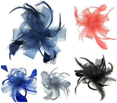 Large Looped Comb Feather Fascinator Ladies Day Wedding Races Royal Ascot