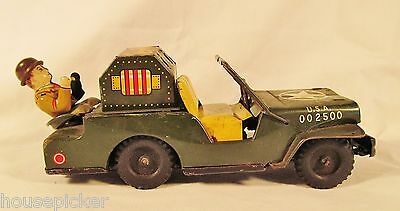 Unusual Vintage Japan Tin Litho Friction US Military Anti-Aircraft Command Jeep