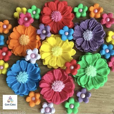 30 Rainbow Bouquet Edible Flowers Cake Cupcake Decorations Toppers  Wedding