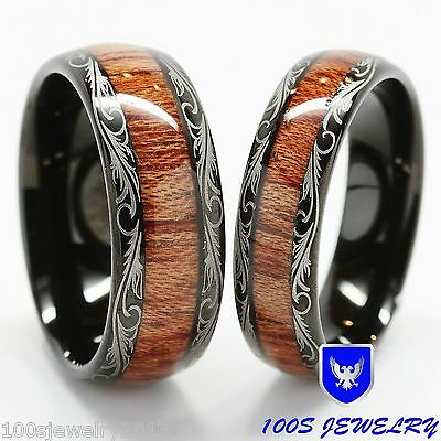 Men & Women's Tungsten Carbide Wedding Band Wood Inlay Comfort Fit Ring Set