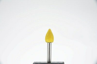 "Saburr Tooth 14F12 1/4"" Shank Flame 1/2"" Fine Grit Power Carving Tool Yellow NEW"