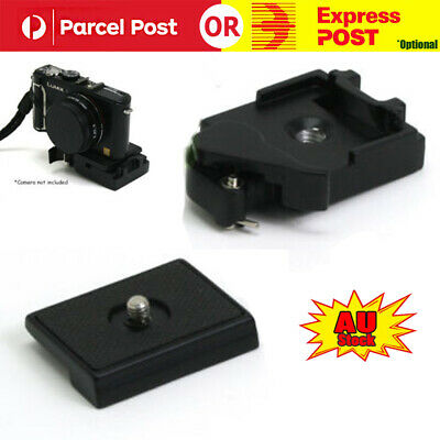 Black Camera Tripod Quick Release Plate Mount Screw Station Adapter Clamp Set AU