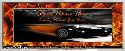 Amazing Car With Flames 2 Store Front Header Template